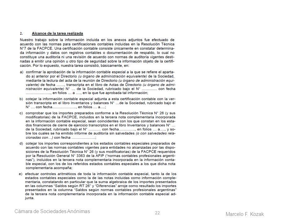 22 Cámara de Sociedades Anónimas Marcelo F. Kozak
