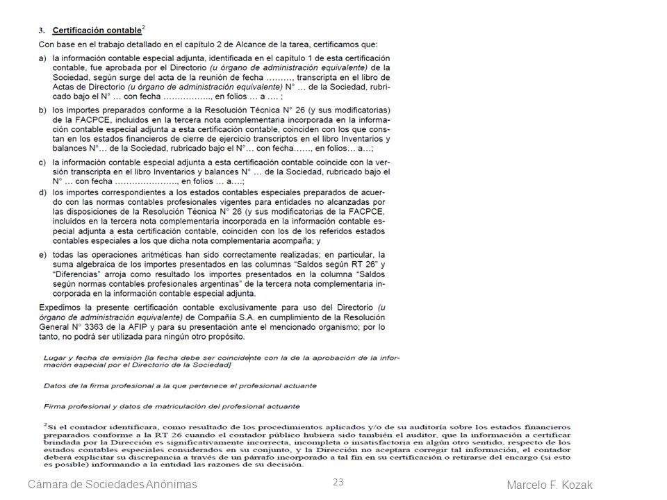 23 Cámara de Sociedades Anónimas Marcelo F. Kozak