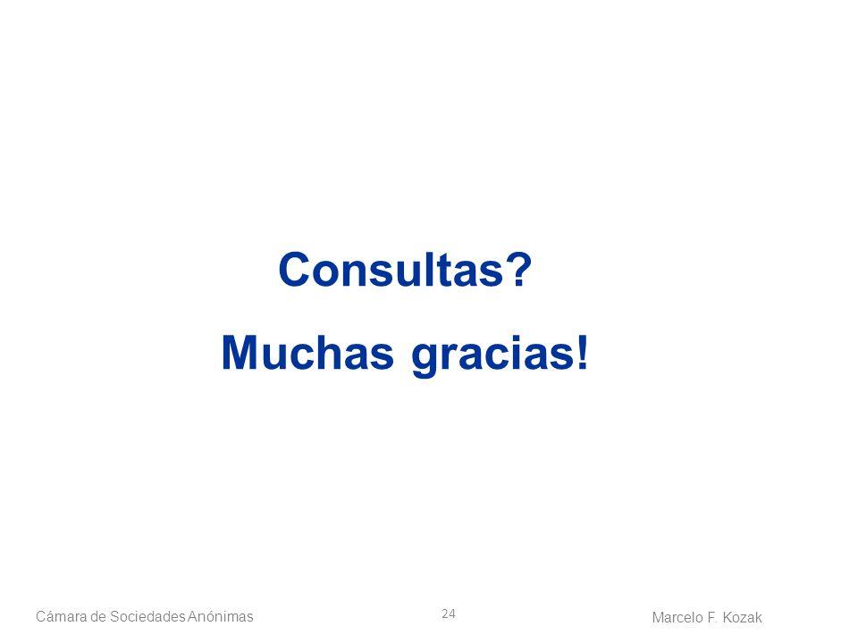 24 Consultas? Muchas gracias! Cámara de Sociedades Anónimas Marcelo F. Kozak