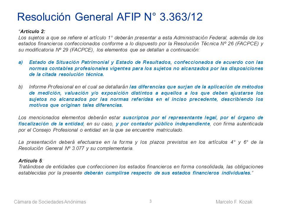 Resolución General AFIP N° 3.363/12 Artículo 2: Los sujetos a que se refiere el artículo 1° deberán presentar a esta Administración Federal, además de