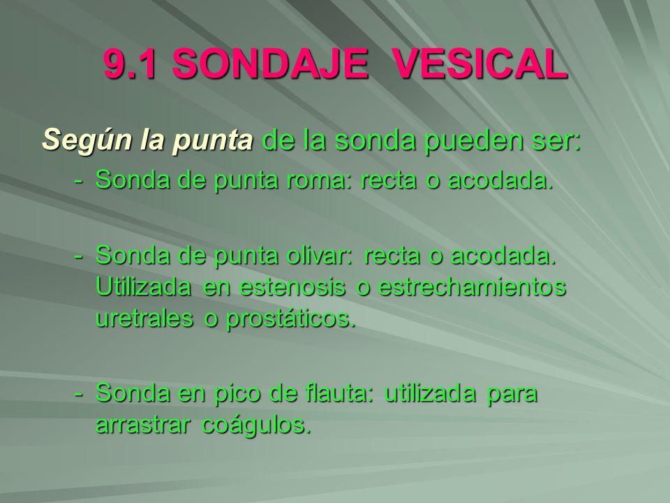 9.1 SONDAJE VESICAL Según la punta de la sonda pueden ser: -Sonda de punta roma: recta o acodada. -Sonda de punta olivar: recta o acodada. Utilizada e