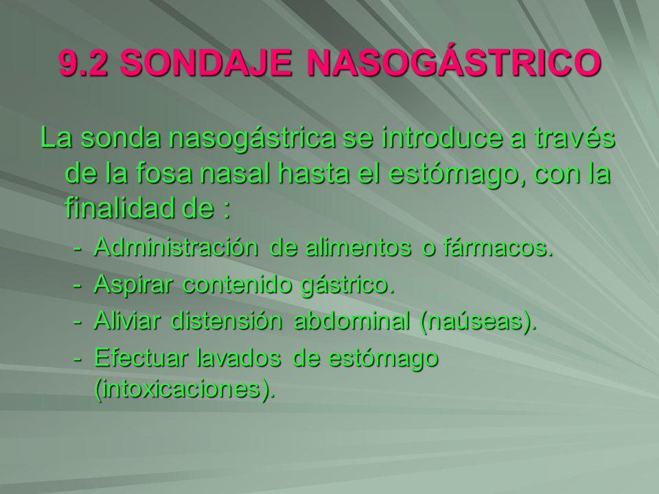 9.2 SONDAJE NASOGÁSTRICO La sonda nasogástrica se introduce a través de la fosa nasal hasta el estómago, con la finalidad de : -Administración de alim