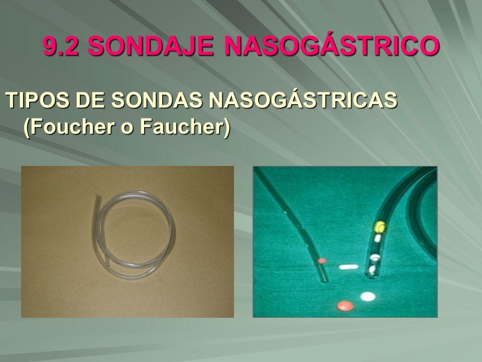 9.2 SONDAJE NASOGÁSTRICO TIPOS DE SONDAS NASOGÁSTRICAS (Foucher o Faucher)