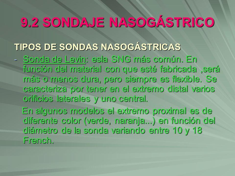 9.2 SONDAJE NASOGÁSTRICO TIPOS DE SONDAS NASOGÁSTRICAS - Sonda de Levin: esla SNG más común. En función del material con que esté fabricada,será más o