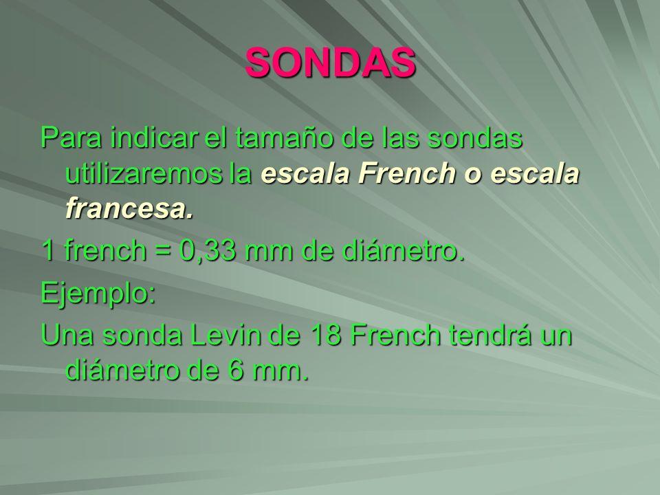 SONDAS Para indicar el tamaño de las sondas utilizaremos la escala French o escala francesa. 1 french = 0,33 mm de diámetro. Ejemplo: Una sonda Levin