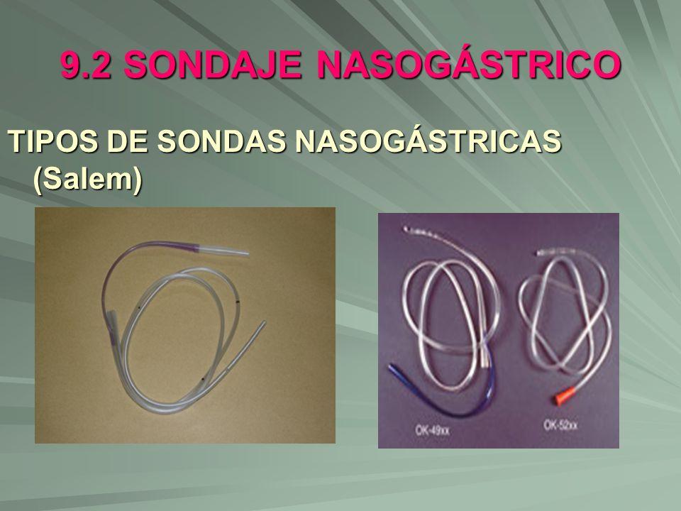 9.2 SONDAJE NASOGÁSTRICO TIPOS DE SONDAS NASOGÁSTRICAS (Salem)