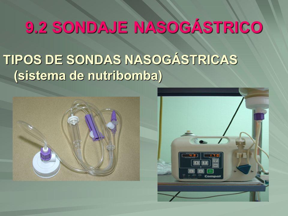 9.2 SONDAJE NASOGÁSTRICO TIPOS DE SONDAS NASOGÁSTRICAS (sistema de nutribomba)