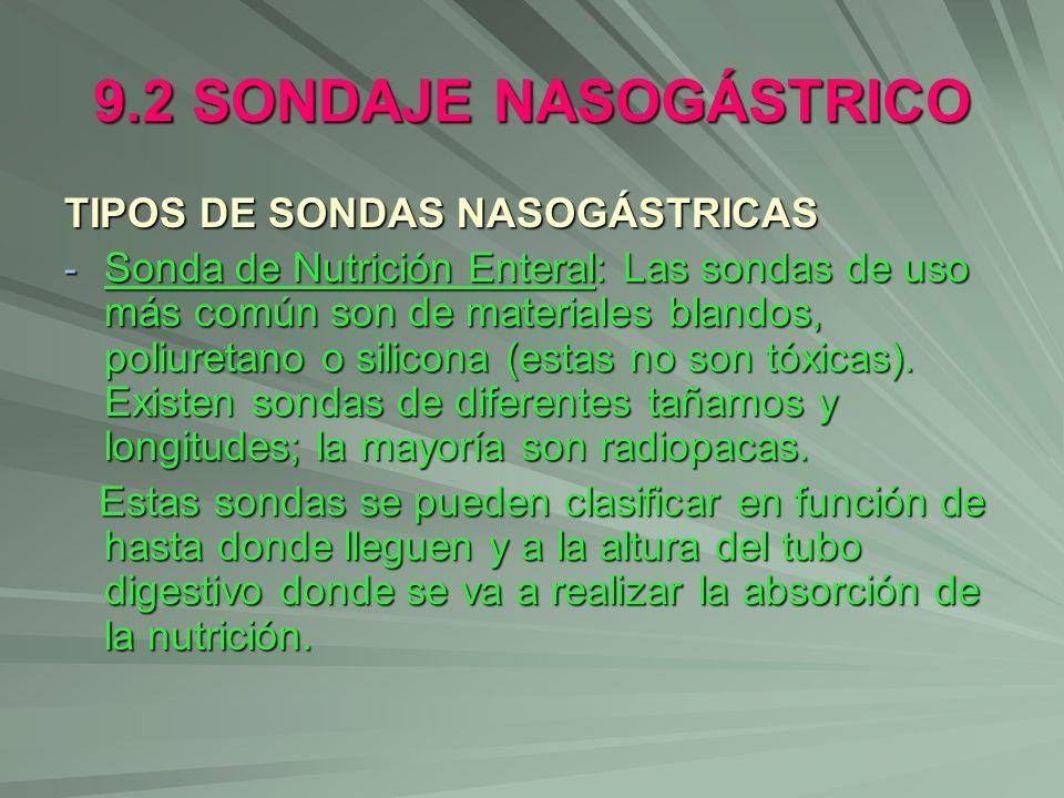 9.2 SONDAJE NASOGÁSTRICO TIPOS DE SONDAS NASOGÁSTRICAS - Sonda de Nutrición Enteral: Las sondas de uso más común son de materiales blandos, poliuretan
