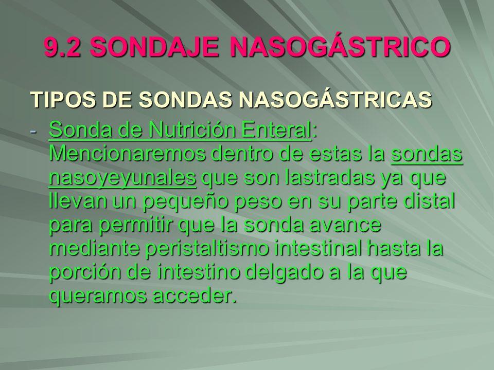 9.2 SONDAJE NASOGÁSTRICO TIPOS DE SONDAS NASOGÁSTRICAS - Sonda de Nutrición Enteral: Mencionaremos dentro de estas la sondas nasoyeyunales que son las