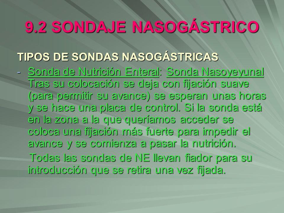 9.2 SONDAJE NASOGÁSTRICO TIPOS DE SONDAS NASOGÁSTRICAS - Sonda de Nutrición Enteral: Sonda Nasoyeyunal Tras su colocación se deja con fijación suave (