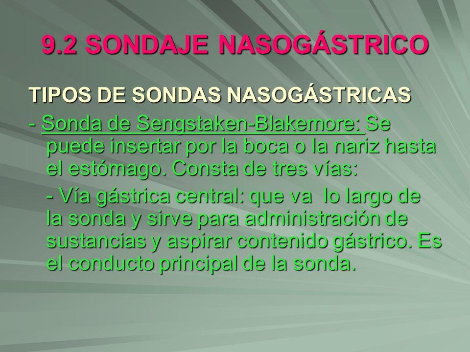 9.2 SONDAJE NASOGÁSTRICO TIPOS DE SONDAS NASOGÁSTRICAS - Sonda de Sengstaken-Blakemore: Se puede insertar por la boca o la nariz hasta el estómago. Co