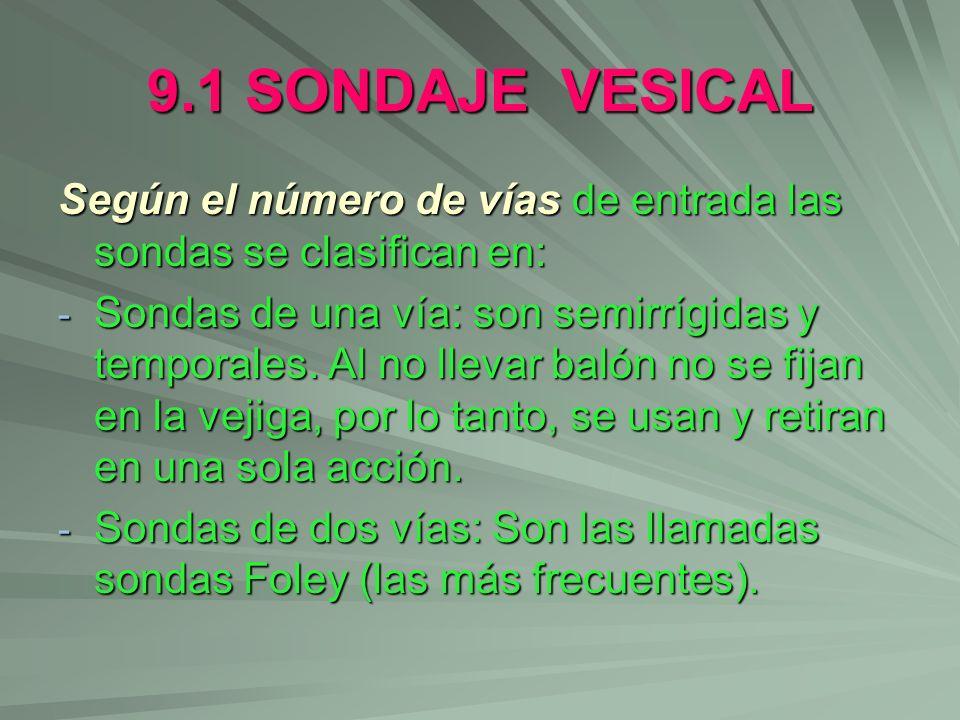 9.1 SONDAJE VESICAL Según el número de vías de entrada las sondas se clasifican en: - Sondas de una vía: son semirrígidas y temporales. Al no llevar b