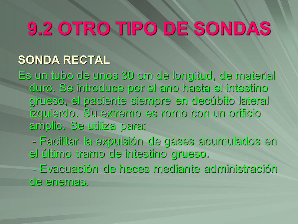 9.2 OTRO TIPO DE SONDAS SONDA RECTAL Es un tubo de unos 30 cm de longitud, de material duro. Se introduce por el ano hasta el intestino grueso, el pac