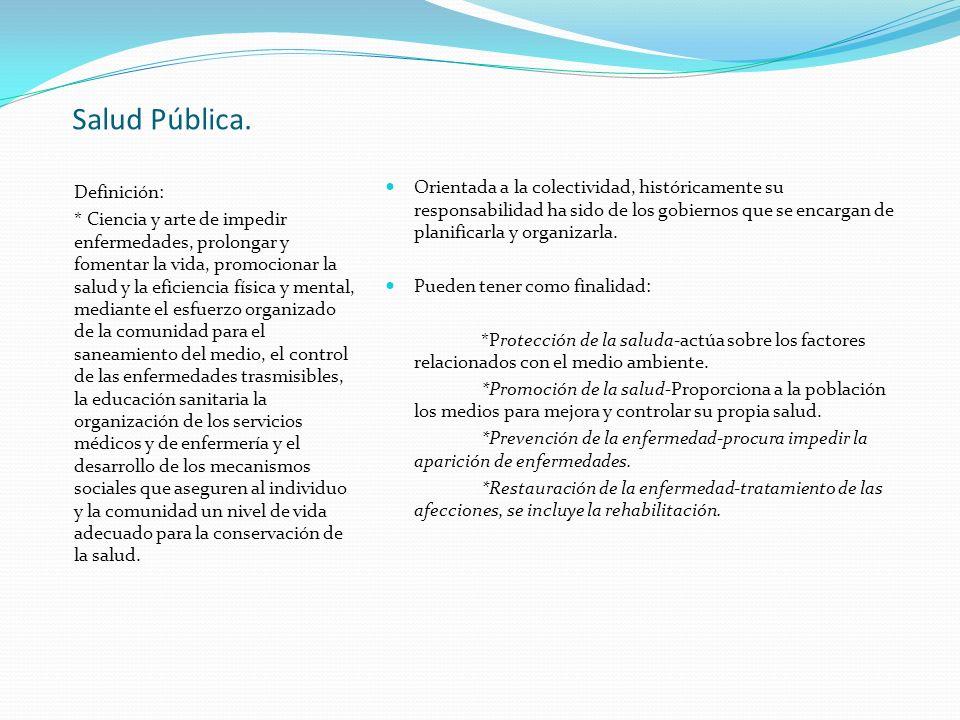 Salud Pública. Definición: * Ciencia y arte de impedir enfermedades, prolongar y fomentar la vida, promocionar la salud y la eficiencia física y menta