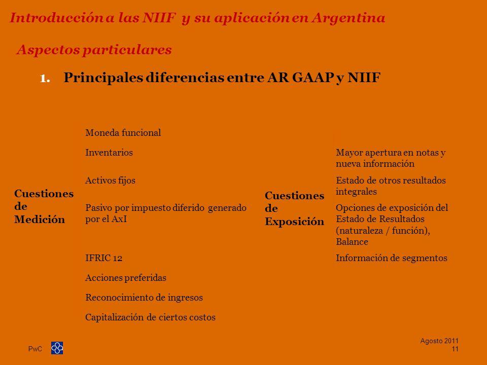 PwC 1.Principales diferencias entre AR GAAP y NIIF Aspectos particulares Agosto 2011 11 Introducción a las NIIF y su aplicación en Argentina Moneda fu