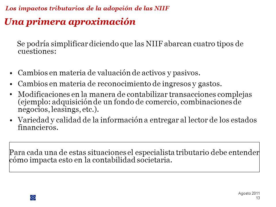 PwC 13 Una primera aproximación Se podría simplificar diciendo que las NIIF abarcan cuatro tipos de cuestiones: Cambios en materia de valuación de act