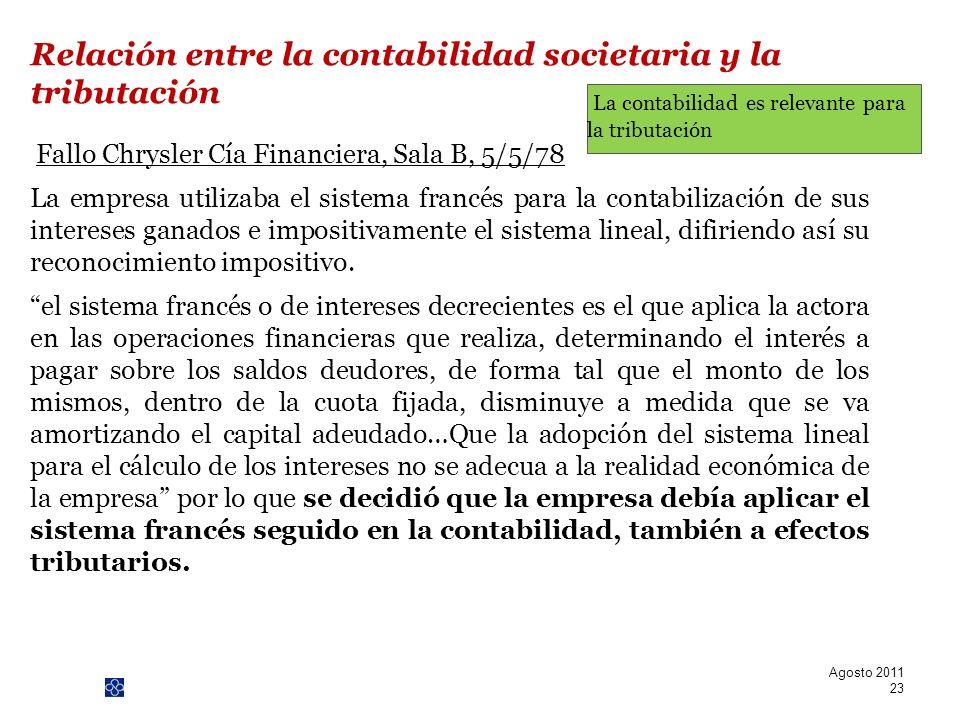 PwC Fallo Chrysler Cía Financiera, Sala B, 5/5/78 La empresa utilizaba el sistema francés para la contabilización de sus intereses ganados e impositiv