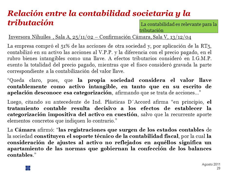 PwC Inversora Nihuiles, Sala A, 25/11/02 – Confirmación Cámara, Sala V, 13/12/04 La empresa compró el 51% de las acciones de otra sociedad y, por apli