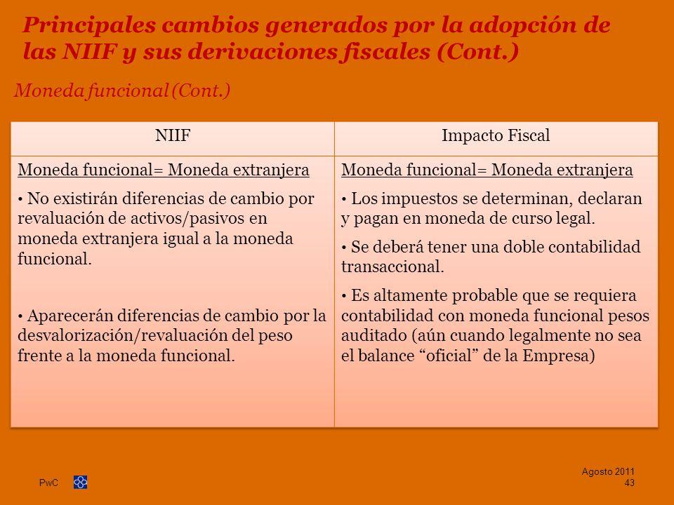 PwC Moneda funcional (Cont.) Agosto 2011 43 Principales cambios generados por la adopción de las NIIF y sus derivaciones fiscales (Cont.)