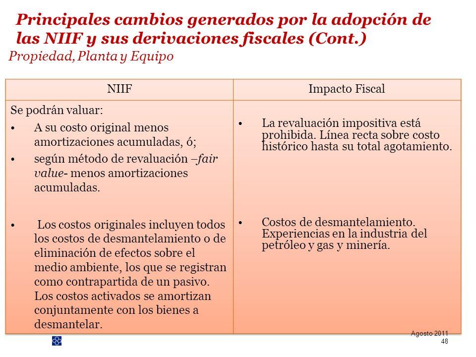 PwC Propiedad, Planta y Equipo Agosto 2011 48 Principales cambios generados por la adopción de las NIIF y sus derivaciones fiscales (Cont.)