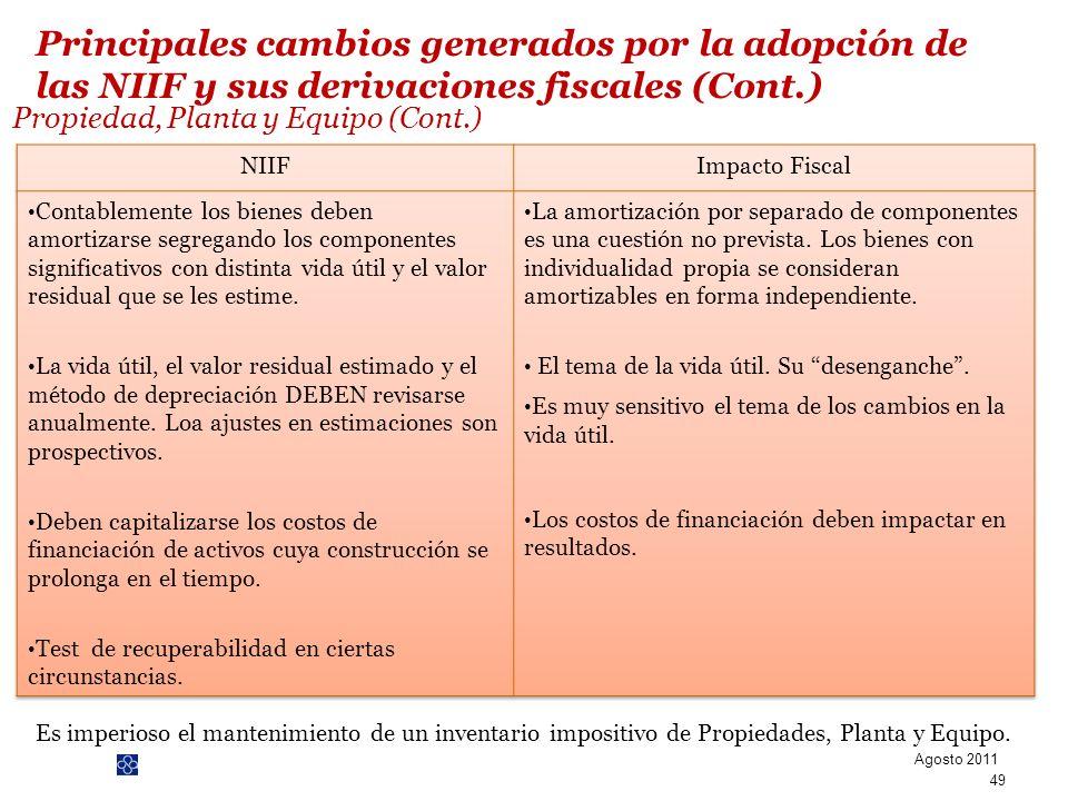PwC Propiedad, Planta y Equipo (Cont.) Es imperioso el mantenimiento de un inventario impositivo de Propiedades, Planta y Equipo. Agosto 2011 49 Princ
