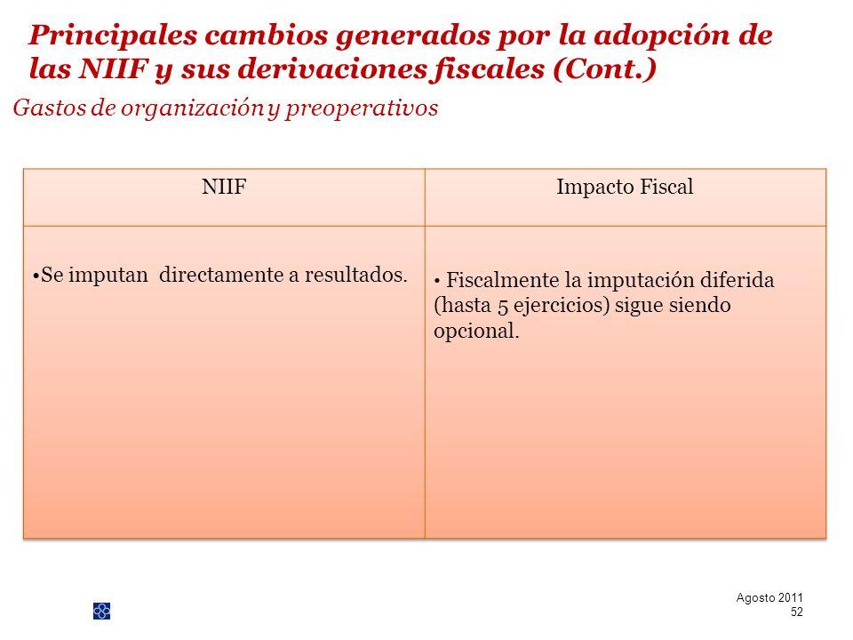 PwC Gastos de organización y preoperativos Agosto 2011 52 Principales cambios generados por la adopción de las NIIF y sus derivaciones fiscales (Cont.
