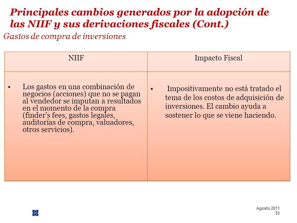 PwC Gastos de compra de inversiones Agosto 2011 53 Principales cambios generados por la adopción de las NIIF y sus derivaciones fiscales (Cont.)