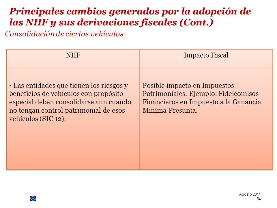 PwC Consolidación de ciertos vehículos Agosto 2011 54 Principales cambios generados por la adopción de las NIIF y sus derivaciones fiscales (Cont.)