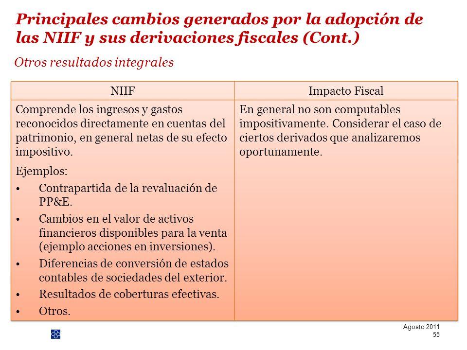 PwC Otros resultados integrales Agosto 2011 55 Principales cambios generados por la adopción de las NIIF y sus derivaciones fiscales (Cont.)