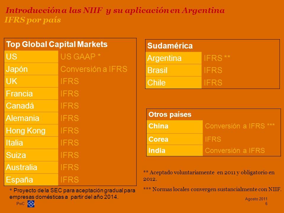 PwC IFRS por país Top Global Capital Markets USUS GAAP * JapónConversión a IFRS UKIFRS FranciaIFRS CanadáIFRS AlemaniaIFRS Hong KongIFRS ItaliaIFRS Su