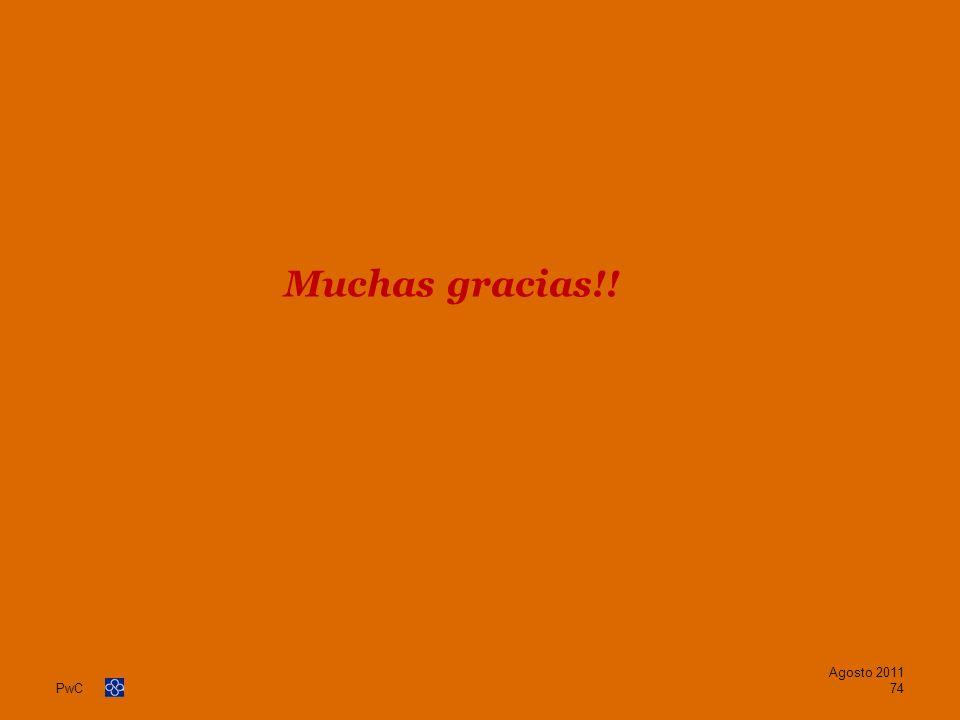 PwC Muchas gracias!! Agosto 2011 74