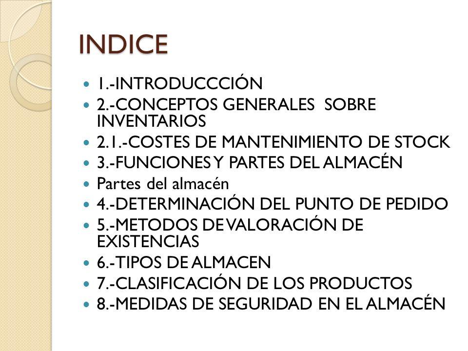 INDICE 1.-INTRODUCCCIÓN 2.-CONCEPTOS GENERALES SOBRE INVENTARIOS 2.1.-COSTES DE MANTENIMIENTO DE STOCK 3.-FUNCIONES Y PARTES DEL ALMACÉN Partes del al