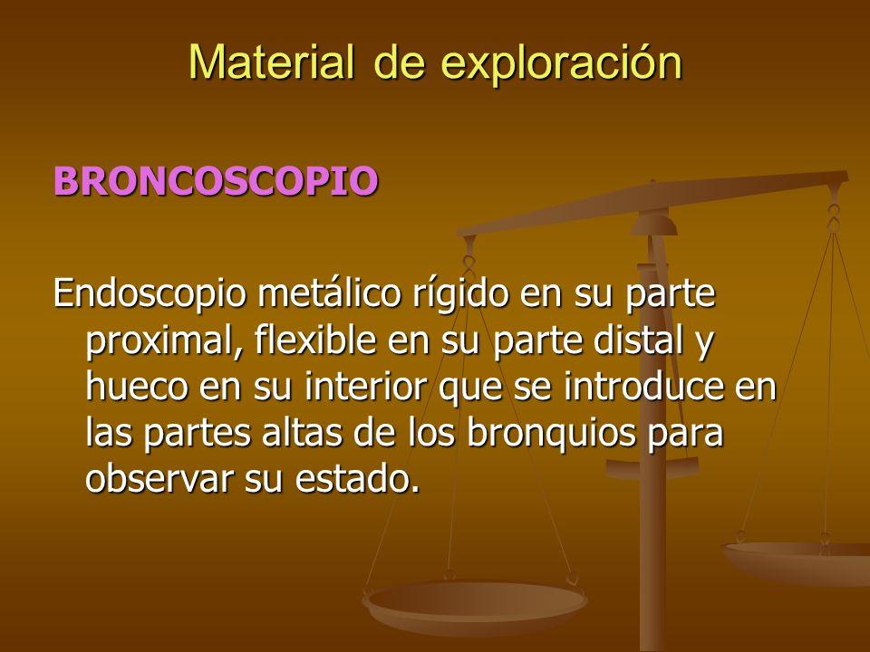 BRONCOSCOPIO Endoscopio metálico rígido en su parte proximal, flexible en su parte distal y hueco en su interior que se introduce en las partes altas