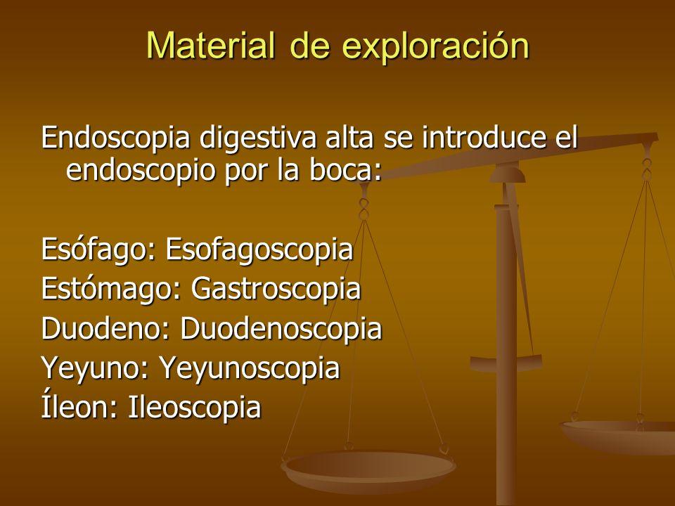 Material de exploración Endoscopia digestiva alta se introduce el endoscopio por la boca: Esófago: Esofagoscopia Estómago: Gastroscopia Duodeno: Duode