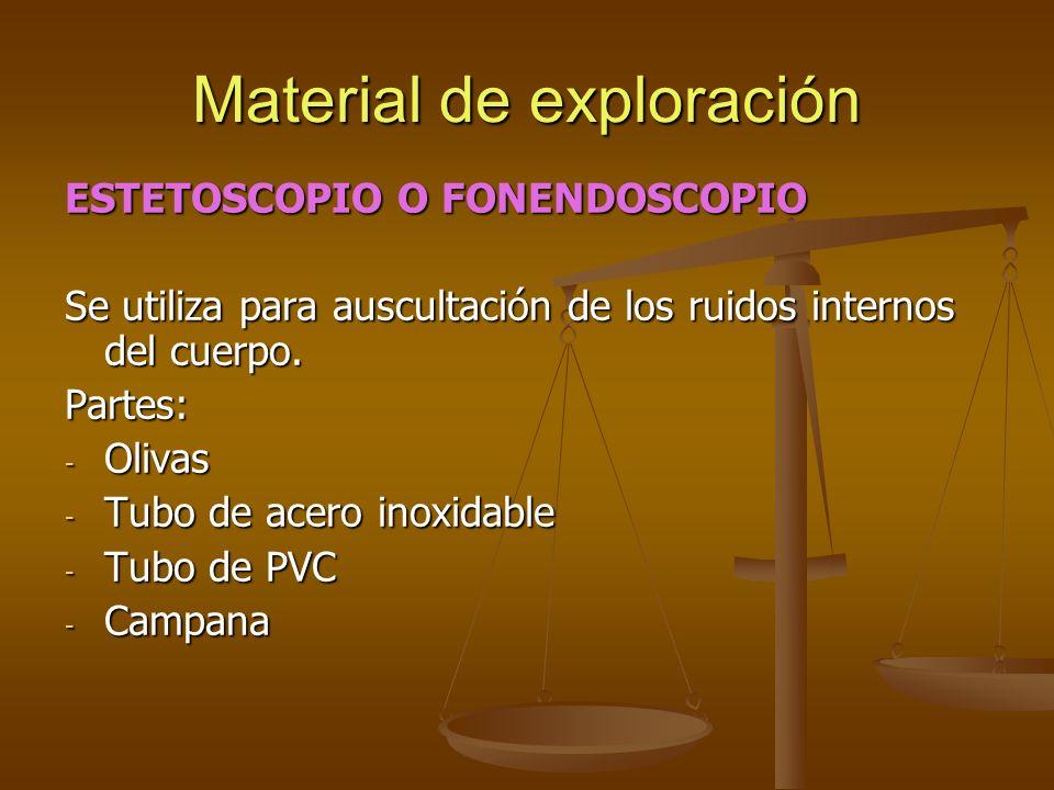 ESTETOSCOPIO O FONENDOSCOPIO Se utiliza para auscultación de los ruidos internos del cuerpo. Partes: - Olivas - Tubo de acero inoxidable - Tubo de PVC