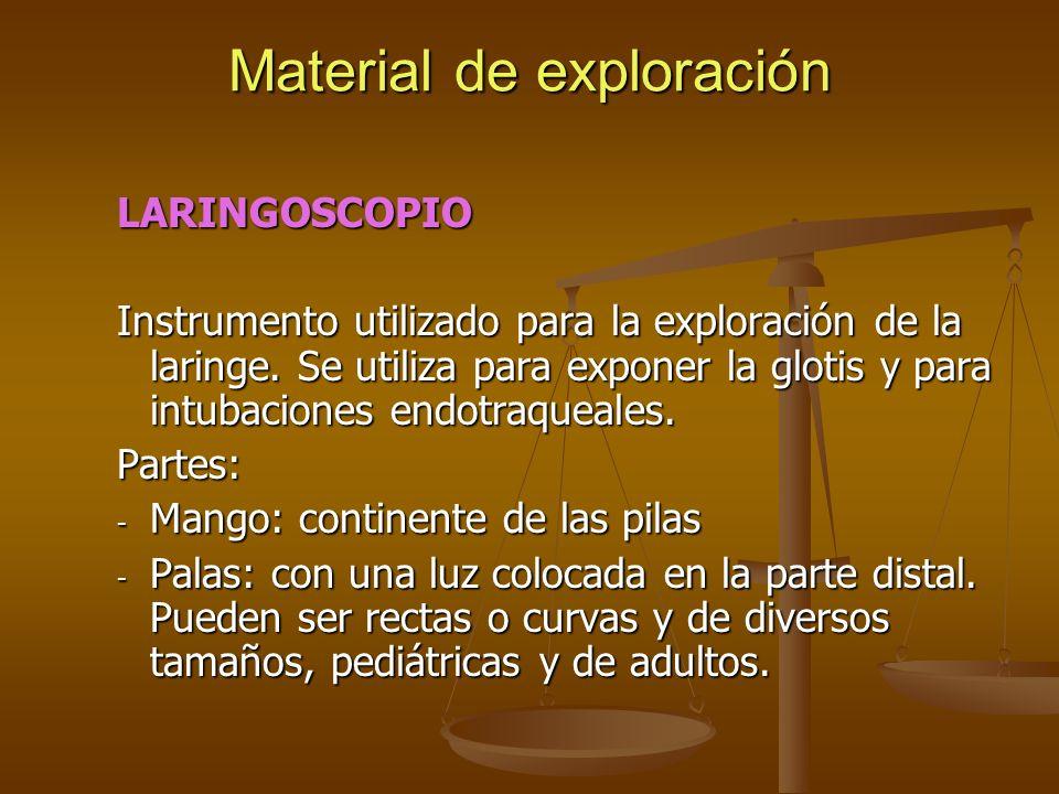 LARINGOSCOPIO Instrumento utilizado para la exploración de la laringe. Se utiliza para exponer la glotis y para intubaciones endotraqueales. Partes: -