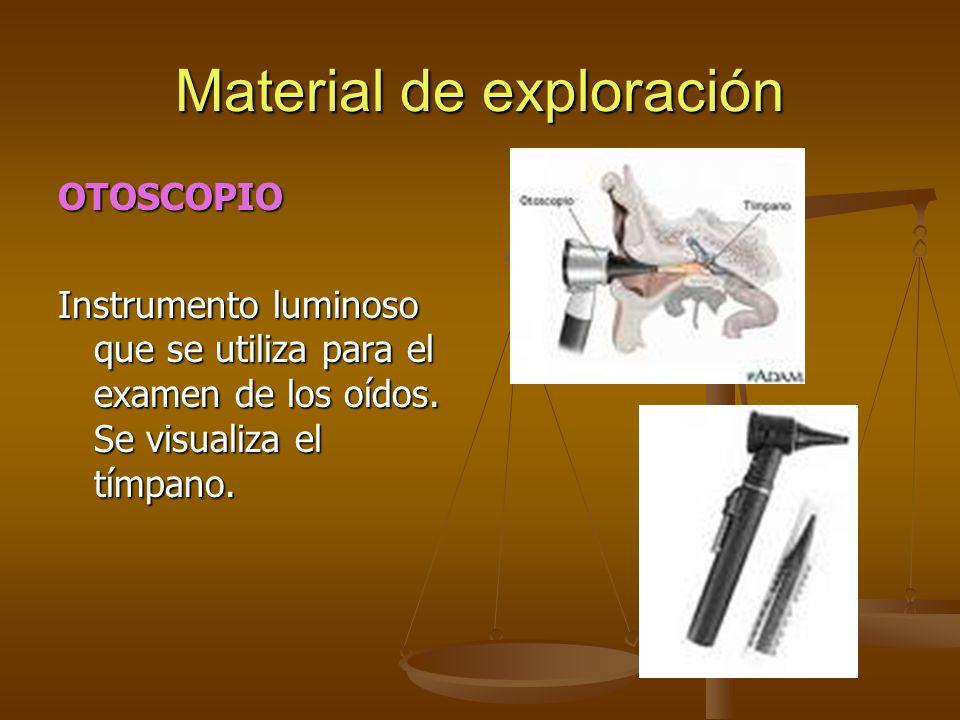 OTOSCOPIO Instrumento luminoso que se utiliza para el examen de los oídos. Se visualiza el tímpano.