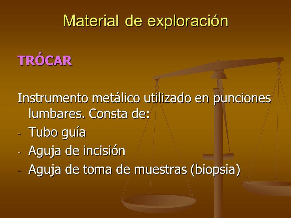 Material de exploración TRÓCAR Instrumento metálico utilizado en punciones lumbares. Consta de: - Tubo guía - Aguja de incisión - Aguja de toma de mue
