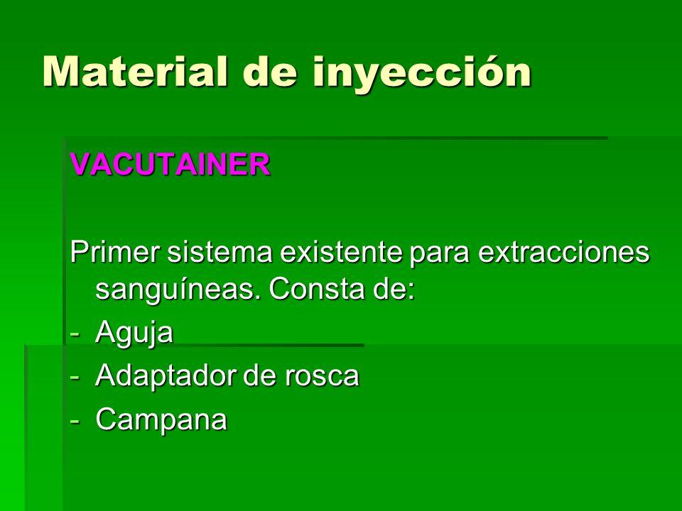 VACUTAINER Primer sistema existente para extracciones sanguíneas. Consta de: -Aguja -Adaptador de rosca -Campana