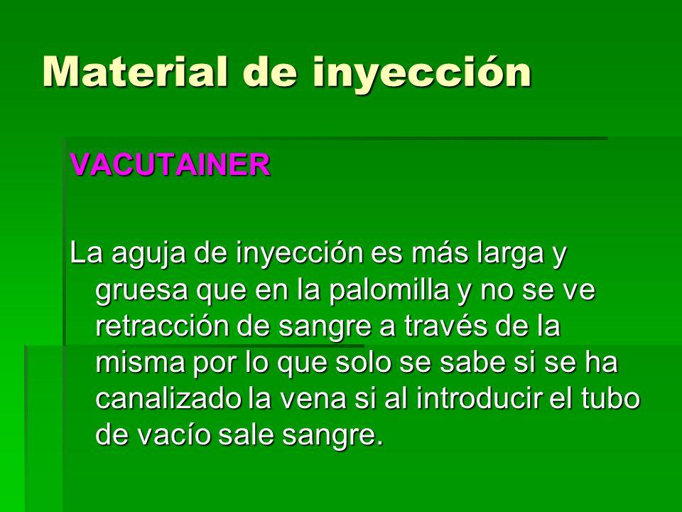 Material de inyección VACUTAINER La aguja de inyección es más larga y gruesa que en la palomilla y no se ve retracción de sangre a través de la misma