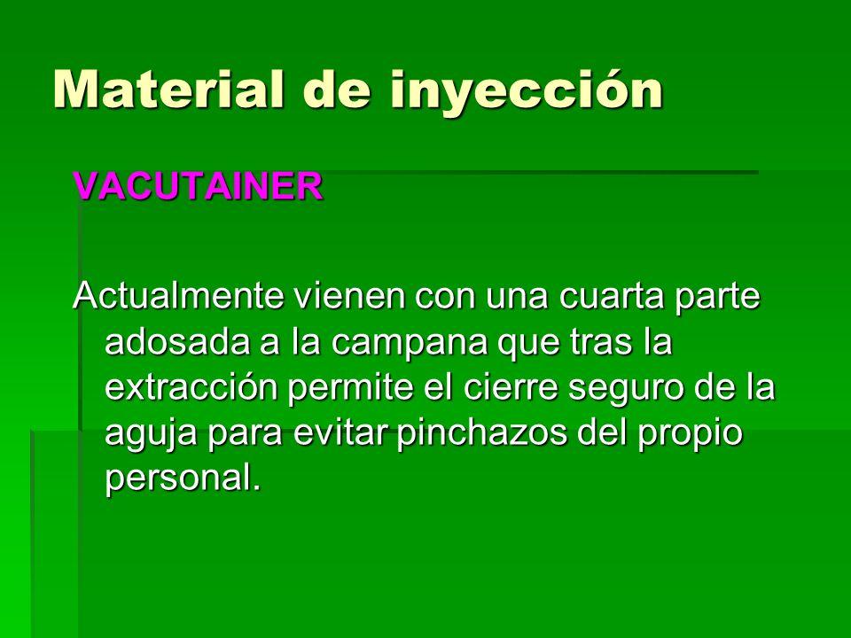 VACUTAINER Actualmente vienen con una cuarta parte adosada a la campana que tras la extracción permite el cierre seguro de la aguja para evitar pincha