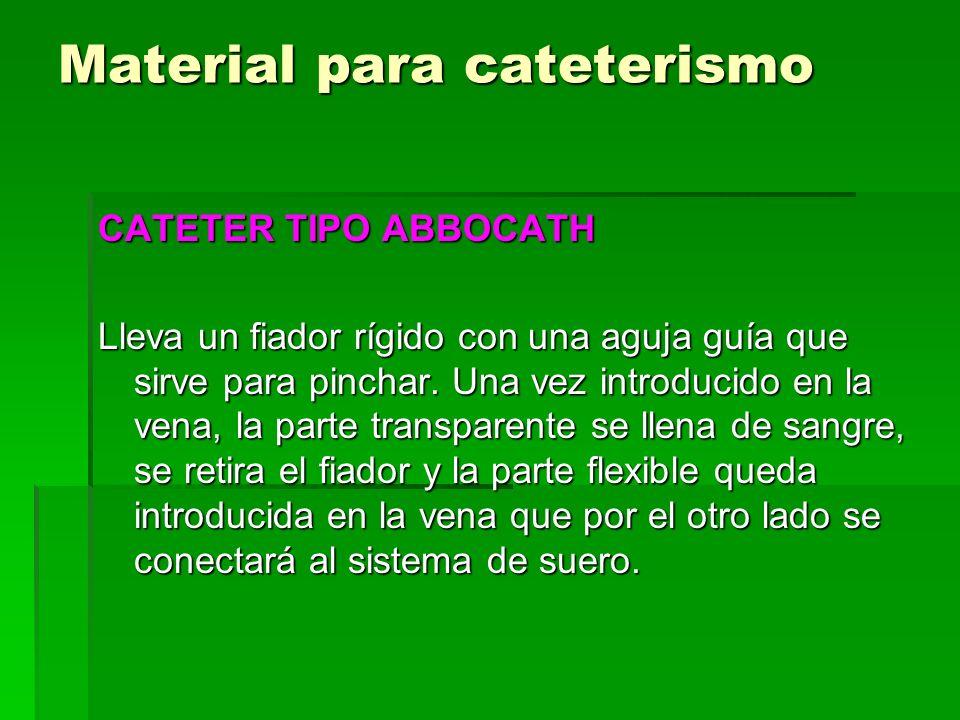 Material para cateterismo CATETER TIPO ABBOCATH Lleva un fiador rígido con una aguja guía que sirve para pinchar. Una vez introducido en la vena, la p