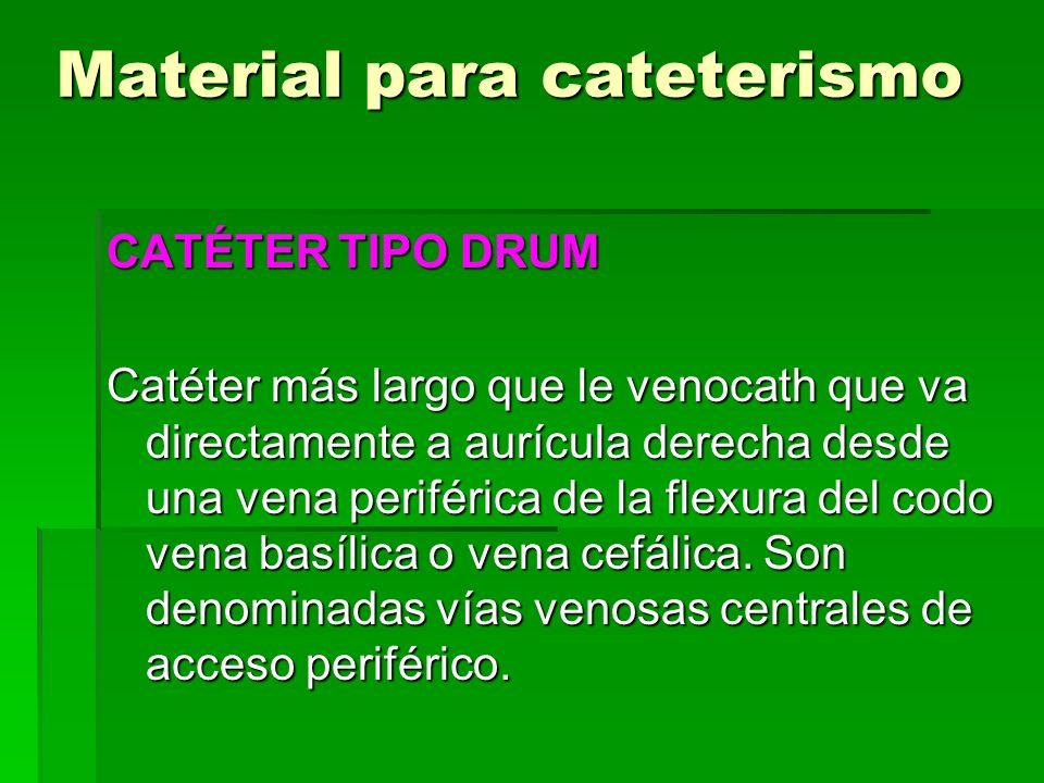 Material para cateterismo CATÉTER TIPO DRUM Catéter más largo que le venocath que va directamente a aurícula derecha desde una vena periférica de la f