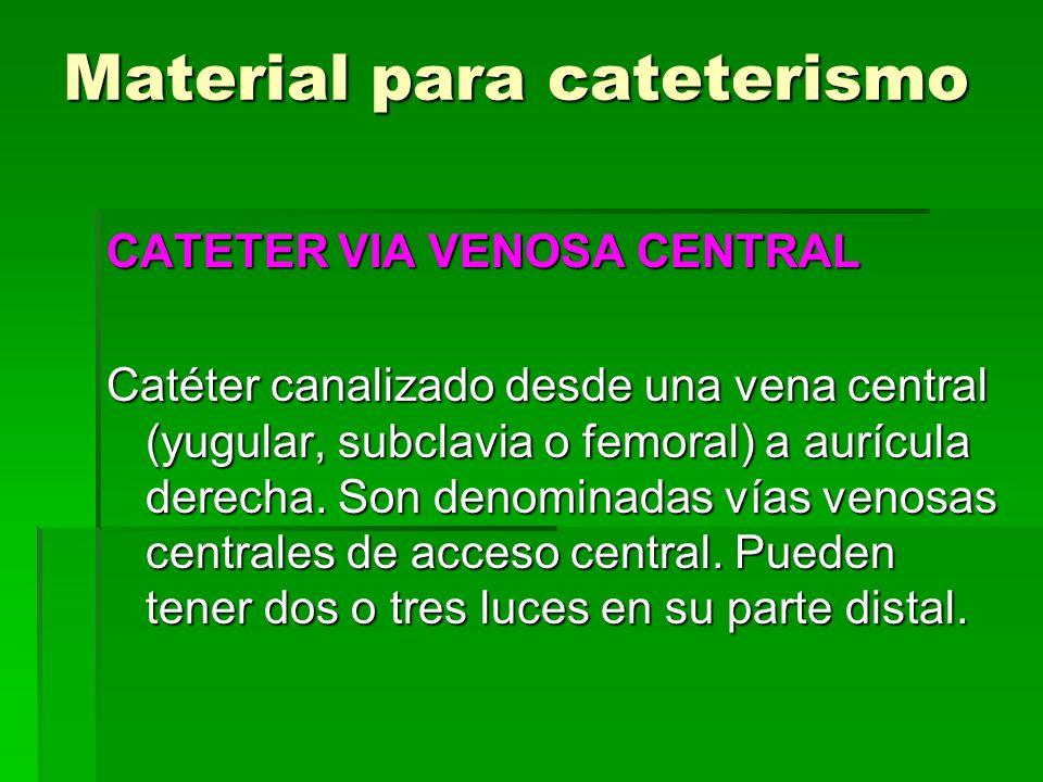 Material para cateterismo CATETER VIA VENOSA CENTRAL Catéter canalizado desde una vena central (yugular, subclavia o femoral) a aurícula derecha. Son