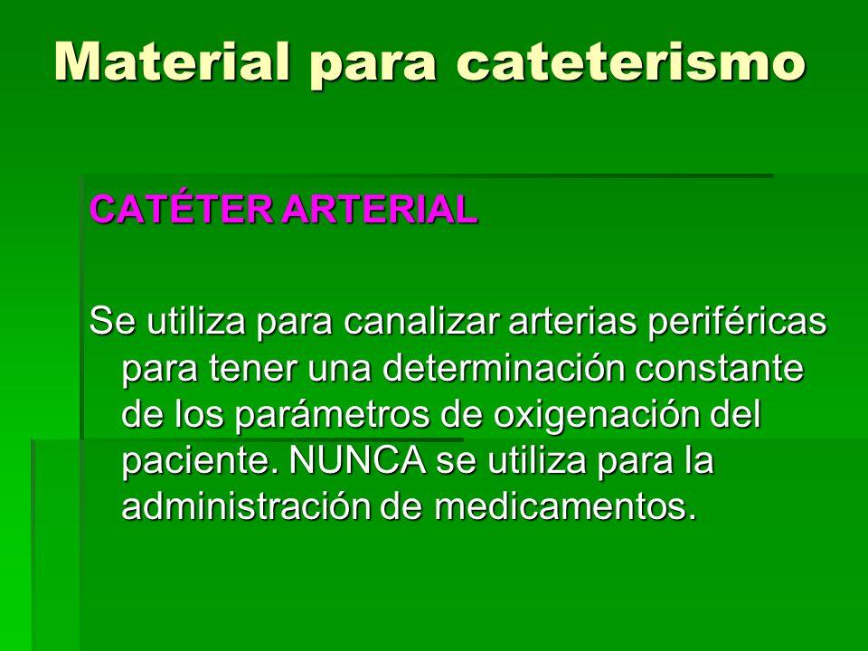 Material para cateterismo CATÉTER ARTERIAL Se utiliza para canalizar arterias periféricas para tener una determinación constante de los parámetros de