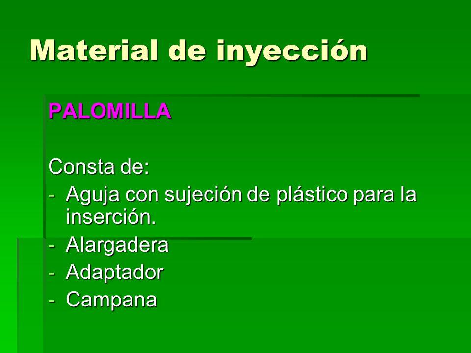 Material de inyección PALOMILLA Consta de: -Aguja con sujeción de plástico para la inserción. -Alargadera -Adaptador -Campana