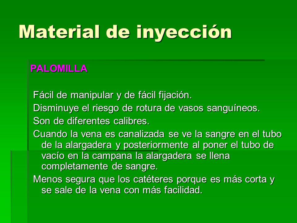 Material de inyección PALOMILLA Fácil de manipular y de fácil fijación. Fácil de manipular y de fácil fijación. Disminuye el riesgo de rotura de vasos