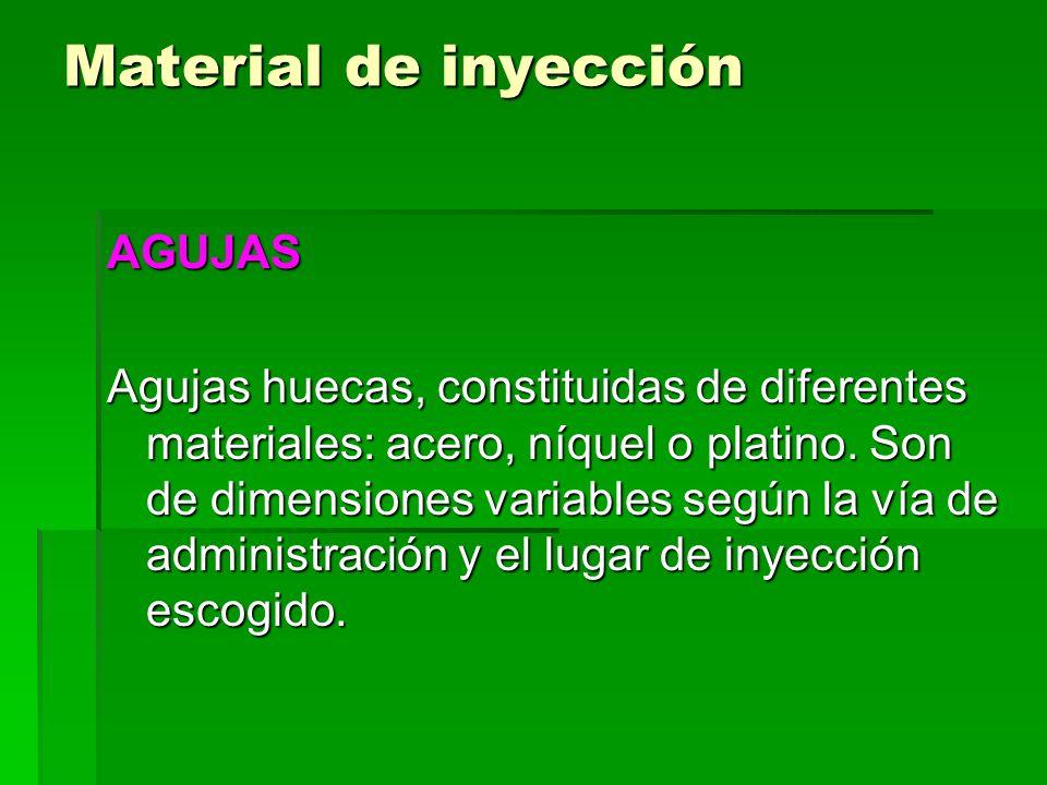 Material de inyección AGUJAS Las dimensiones son diferentes en cuanto a calibre y longitud representados por dos números ej.