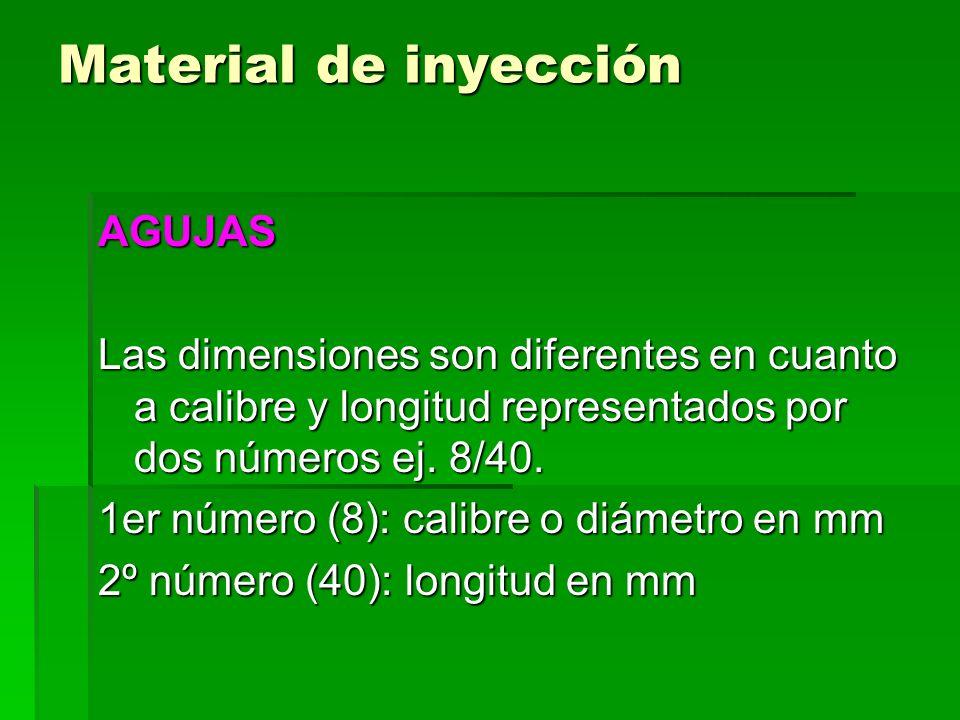 Material de inyección AGUJAS Según el sitio de inyección se clasifican: -Agujas de inyección subcutánea -Agujas de inyección intradérmica -Agujas de inyección intravenosa -Agujas de inyección intramuscular -Agujas de inyección intraarterial -Agujas de inyección de carga