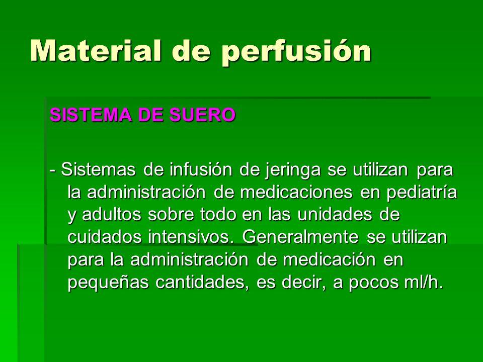 Material de perfusión SISTEMA DE SUERO - Sistemas de infusión de jeringa se utilizan para la administración de medicaciones en pediatría y adultos sob